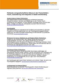 Politische und gesellschaftliche Akteure in den Themenfeldern Flucht, Zuwanderung und Integration in Baden-Württemberg